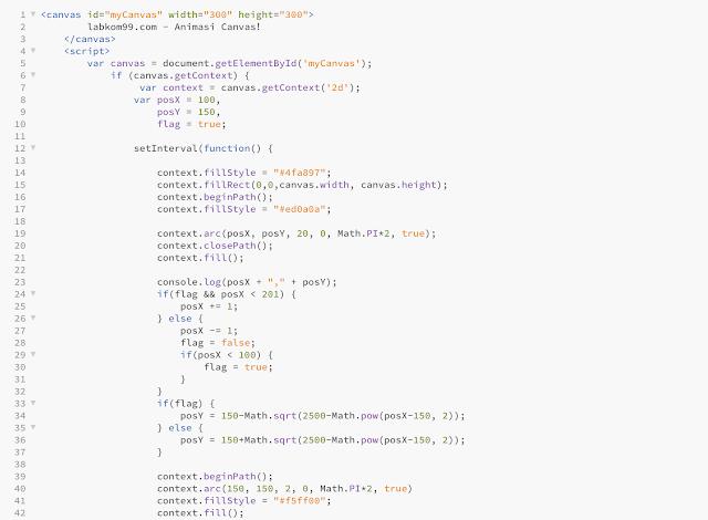 Belajar HTML5 dan Canvas Membuat Animasi Lingkaran